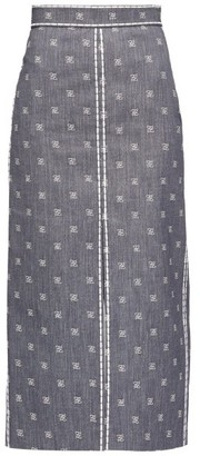Fendi Logo-embroidered Slit Denim Midi Skirt - Womens - Denim