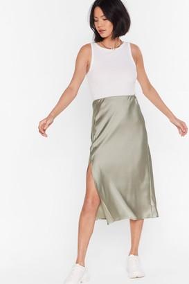 Nasty Gal Womens One Sleek Later Satin Midi Skirt - Pistachio