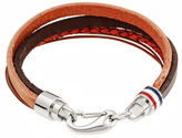 FINE JEWELRY Mens Brown Leather with Stainless Steel Bracelet