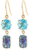 Suzanne Kalan KALAN by 14k Yellow Gold Wire Double-Drop Earrings in Blue Topaz