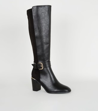 New Look Leather-Look Heeled Knee High Boots