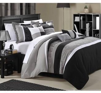 Chic Home Euphrasia 8-Piece Comforter Set Embroidery Pintuck Bedding