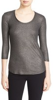 Majestic Filatures Scoop Neck Metallic Jersey Top