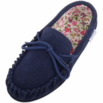 SNUGRUGS Grace Womens Suede Moccasins with Floral Cotton Inner and Rubber Sole - Navy - UK 8