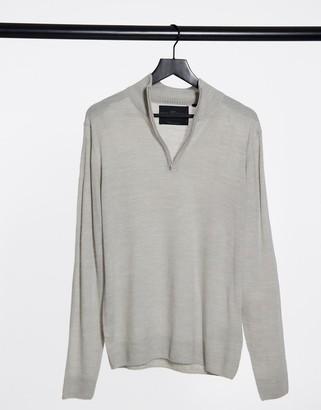 Soul Star half zip funnel neck knitted jumper in light grey melange