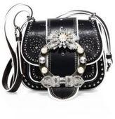 Miu Miu Dahlia Jewel-Buckle Studded Leather Shoulder Bag