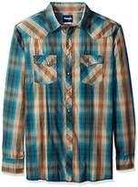 Wrangler Men's Tall Size Western Snap Front Long Sleeve Woven Shirt
