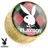 Playboy Bunny Logo on Red/Green Argyle Print Wood Saddle Plug (Sold as a Pair)