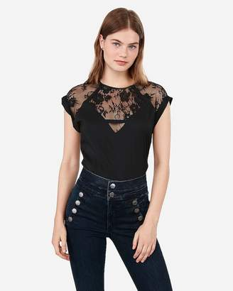 Express Crew Neck Lace Pieced Gramercy Tee