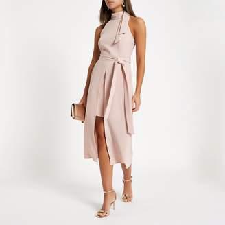 River Island Womens Light Pink high neck tie waist midi dress