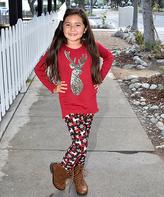 Beary Basics Red Silver Deer Top & Plaid Deer Leggings - Toddler & Girls