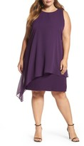 Tahari Plus Size Women's Chiffon Overlay Shift Dress