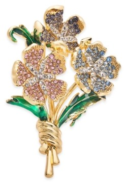Charter Club Gold-Tone Multicolor Crystal Flower Bouquet Pin, Created for Macy's
