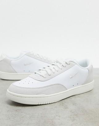 Nike Court Vintage Premium leather trainers in white/platinum tint