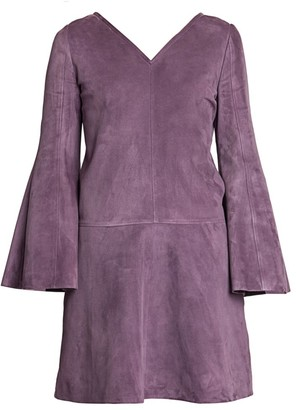 Valentino V-Neck Suede Mini Dress