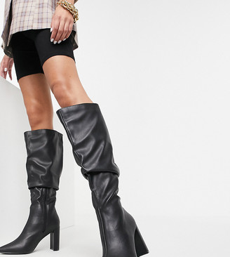Public Desire Wide Fit Mine slouch knee boots in black