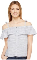 Lucky Brand Space Dyed Ruffle Top Women's Short Sleeve Pullover