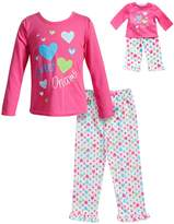 "Dollie & Me Girls 4-14 Sweet Dreams"" Heart Top & Bottoms Pajama Set"