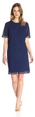 Lark & Ro Amazon Brand Women's Short Sleeve Eyelet Tassel Shift Dress