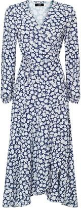 Wallis Navy Floral Print Tiered Midi Dress