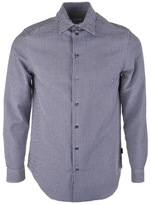 Armani Collezioni Long Sleeved Check Shirt Navy