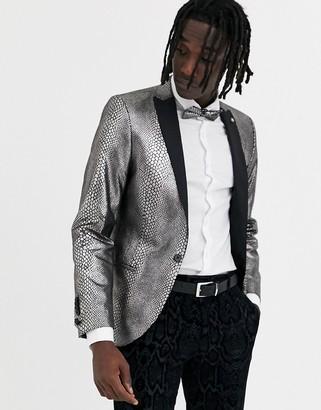Twisted Tailor super skinny blazer with snakeskin print in gunmetal-Silver