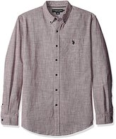U.S. Polo Assn. Men's Long Sleeve Classic Fit Hound's-Tooth Button Down Woven Shirt