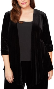 Alex Evenings Plus Size Pointed-Hem Velvet Jacket