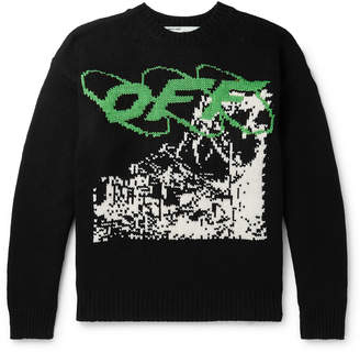 Off-White Off White Intarsia Wool-Blend Sweater