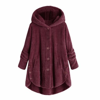 Xmiral Pullover Women Button Coat Fluffy Tail Tops Hooded Loose Sweater Keep Warm Cute Parka(S