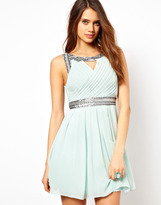 TFNC Skater Dress in Grecian Style with Embellished Trim