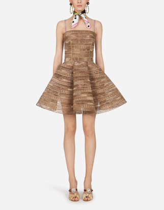Dolce & Gabbana Short Dress With Natural Raffia Embroidery