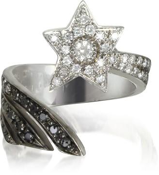 Bernard Delettrez Shooting Star 18K White Gold Midi Ring w/White, Grey and Black Diamonds