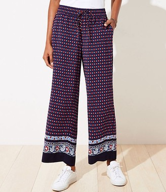 LOFT Border Floral Fluid Drawstring Pants