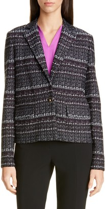 St. John Texture Boucle Tweed Short Jacket