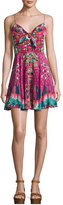 Camilla Embellished Tie-Front Sleeveless Coverup Dress, Desert Discotheque
