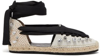 Loewe Paula's Ibiza - Crystal-embellished Canvas & Jute Espadrilles - Womens - Black/white