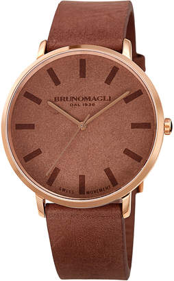 Bruno Magli Men's 42mm Roma Minimalist Watch w/ Leather Dial, Brown/Rose