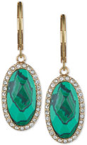 lonna & lilly Gold-Tone Green Stone and Pavé Oval Drop Earrings