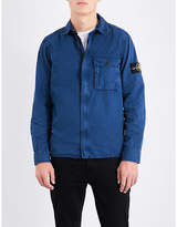 Stone Island Concealed Zip Garment-dyed Cotton Overshirt