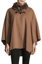 Jones New York Faux Fur Trimmed Wool-Blend Cape