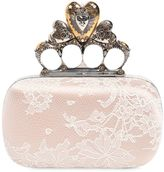 Alexander McQueen Satin & Lace Heart Knuckle Box Clutch
