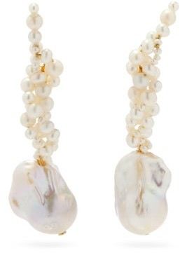 COMPLETEDWORKS Gotcha Pearl & 14kt Gold-vermeil Ear Climbers - Pearl