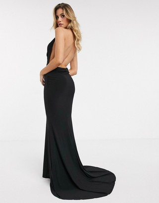 Club L London halterneck maxi dress with fishtail in black