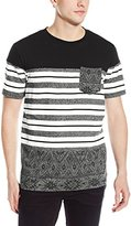 Southpole Men's Cut and Sewn T-Shirt with Aztec Pattern and Contrast Stripes