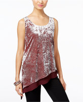 INC International Concepts Petite Mixed-Media Velvet Top, Only at Macy's