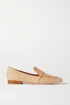 Malone Souliers Jane Leather-trimmed Raffia Loafers - Sand