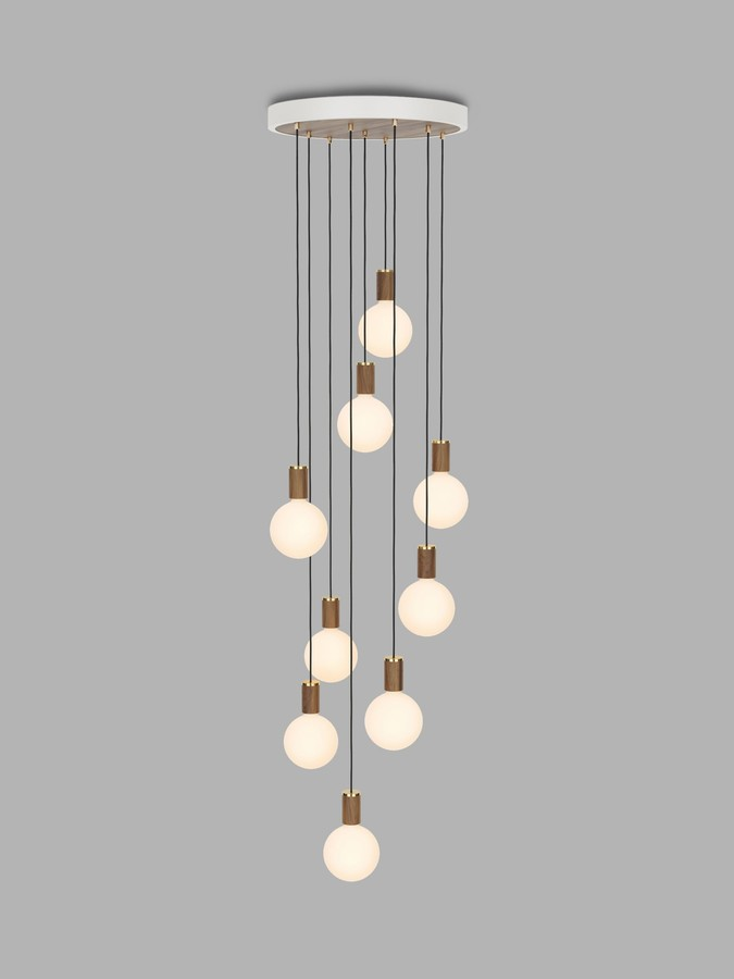 Tala Walnut Nine Pendant Cluster Ceiling Light with Sphere IV ES LED Dim to Warm Globe Bulbs, White