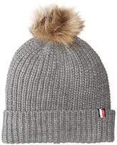 Tommy Hilfiger Women's Rib Cuff Hat with Faux Fur Pom