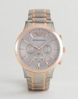 Emporio Armani AR11077 Chronograph Bracelet Watch In Mixed Metal